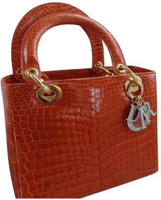 Christian Dior Lady Orange Crocodile Handbags