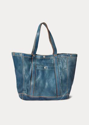 Ralph Lauren Indigo-Dyed Leather Tote
