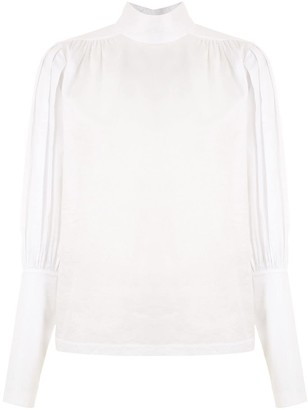 Funnel Neck Wide Sleeves Blouse