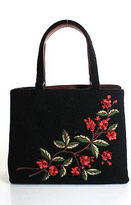 Isabella Fiore Black Canvas Floral Detail Open Top 2 Pocket Tote Size Medium