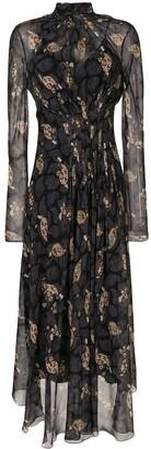 Salvatore Ferragamo Abstract Floral Print Midi Dress