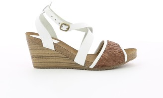 Kickers Spagnol Leather Wedge Heel Sandals with Cross-Strap