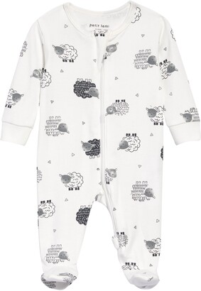 Petit Lem Sheep Print Organic Cotton Fitted One-Piece Pajamas