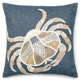 Denim Crab Square Down Throw Pillow in Blue/Ivory