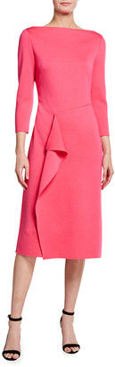 St. John Milano Knit Bateau-Neck Dress with Faux Wrap