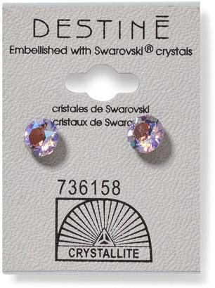 Crystallite 931 Destine Violet AB Diamond Cut Earring