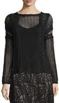 Haute Hippie The Slick Crochet Pullover Sweater, Black