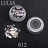 Hot Sale! Nail Sequins,Canserin 1 Box Shiny Round Sequins Colorful Nail Art Glitter Tips UV Gel 3D Nail Decoration Manicure DIY Accessories (L)