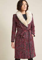 Fever London Tweed Statement Coat with Faux-Fur Collar in 16 (UK) - Fit & Flare Coat by Fever London from ModCloth