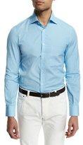 Isaia Mini-Oval Print Long-Sleeve Sport Shirt, Aqua