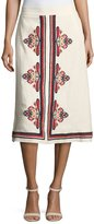 Tory Burch Florentina Embroidered Linen Midi Skirt