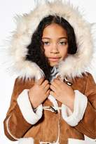 boohoo Girls Bonded Suedette Duffle Coat