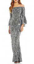 Betsy & Adam Sequined Off-the-Shoulder Flutter Sleeve Sequined Gown