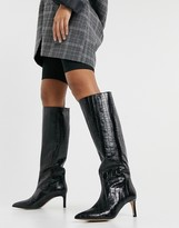 Thumbnail for your product : And other stories & leather slouch knee high boots in black