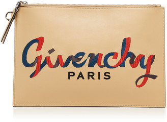 Givenchy Emblem Embroidered Leather Pouch