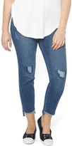 Evans Plus Size Women's Frayed Step Hem Skinny Jeans