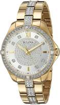 Bulova Women's 98L228 Swarovski Crystal Gold Tone Bracelet Watch