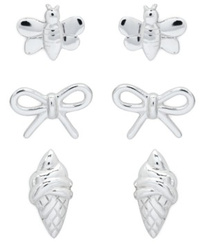 Rhona Sutton 4 Kids Children's Bumble Bee, Bow, Ice Cream Stud Earrings - Set of 3 in Sterling Silver