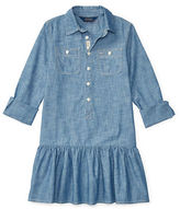 Ralph Lauren Girls 2-6x Toddler's, Little Girl's & Girl's Chambray Drop-Waist Shirtdress