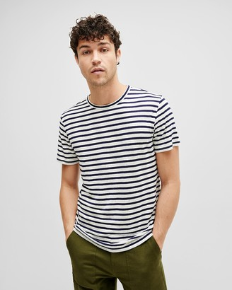 7 For All Mankind Breton Stripe Tee in White/Navy