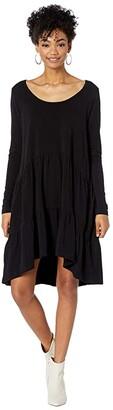 Hard Tail Long Sleeve Cake Dress (Black) Women's Clothing