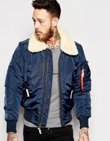 Alpha Industries Bomber Jacket With Sheep Collar In Blue - Blue