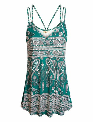 Cyanstyle Floral SleevelessTops for Women V Neck Casual Stretchy Pattern Print Cute Summer Fashion TunicTees Double Spaghetti Strap Cotton Lightweight Flared Tank Camis Green Flower S