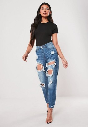 Missguided Petite Blue High Rise Ripped Jeans