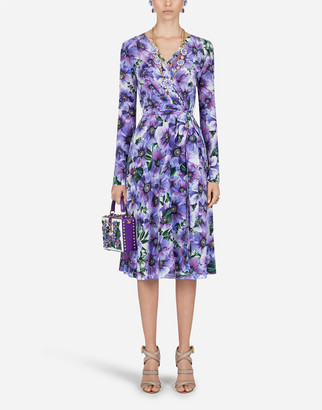 Dolce & Gabbana Crossover Midi Dress In Anemone-Print Crepe De Chine