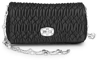Miu Miu Crystal-Embellished Matelasse Leather Shoulder Bag