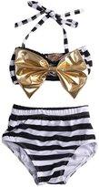 Albee Yang Little Girls Striped Bow Bikini Suit Swimwear Swimsuit