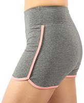 Neonysweets Womens Workout Shorts Running Yoga Short Pants Grey Pink XL