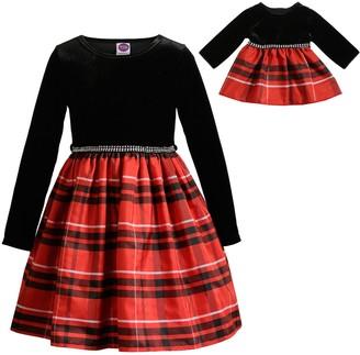 Dollie & Me Girls 4-10 Plaid Velvet Dress with Matching Doll Dress