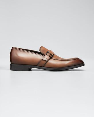 Ermenegildo Zegna Men's Leather Buckle-Strap Loafers