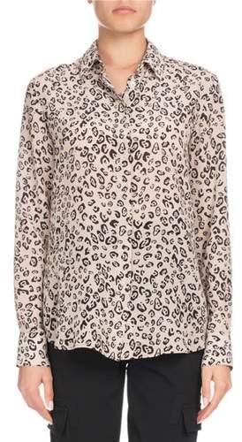 Altuzarra Chika Long-Sleeve Button-Front Leopard-Print Silk Shirt