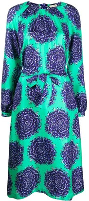 Odeeh Floral Print Silk Dress