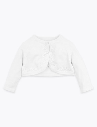 Marks and Spencer Cotton Rich Floral Embroidered Cardigan (0 Mths - 36 Mths)