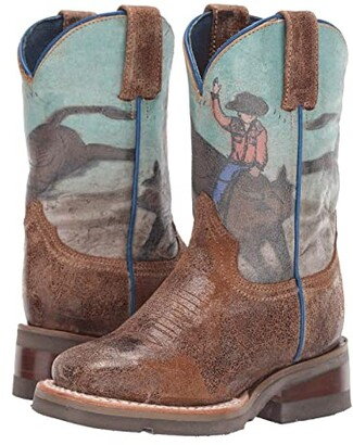 Roper Bucking Brahma (Toddler/Little Kid) (Distressed Brown Vamp/Bullrider Print) Cowboy Boots