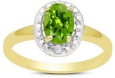 .80 Carat TW Oval-cut Peridot and Diamond Accent Ring Gold Plated (IJ-I2-I3) (August)