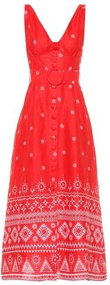 Gül Hürgel Printed linen midi dress
