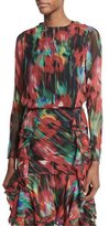Jason Wu Long-Sleeve Floral-Print Top, Black/Multi