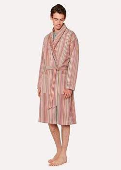 Men's Signature Stripe Cotton Dressing Gown