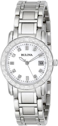 Bulova Diamond Women's Quartz Watch with Mother of Pearl Dial Analogue Display and Silver Stainless Steel Bracelet 96R105