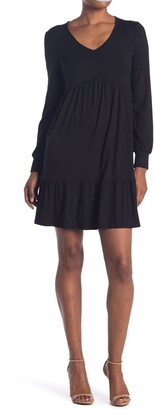 RD Style V-Neck Long Sleeve Tiered Dress