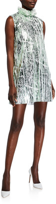 Halpern Foil Mini Dress