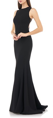 Carmen Marc Valvo Embellished Back Mermaid Gown