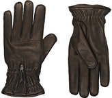 Barneys New York Men's Zip-Cuff Gloves-BROWN