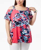 Belldini Plus Size Floral-Print Cold-Shoulder Tunic