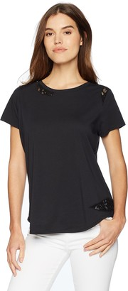 NYDJ Women's Lace Trim Short Sleeve T-Shirt