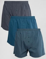 Asos Woven Boxers In Blue 3 Pack